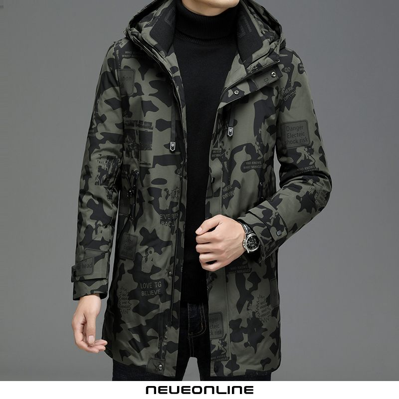 camouflage long hooded down jacket herren army green