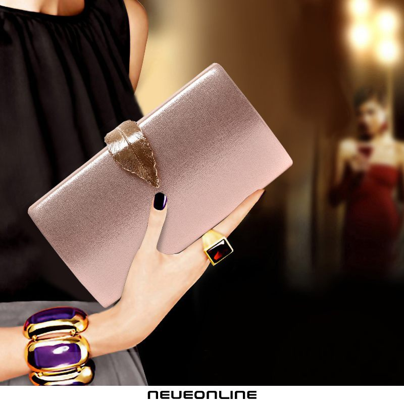 clutch bag weibliche mode dinner bag kleid cheongsam blatt rosa