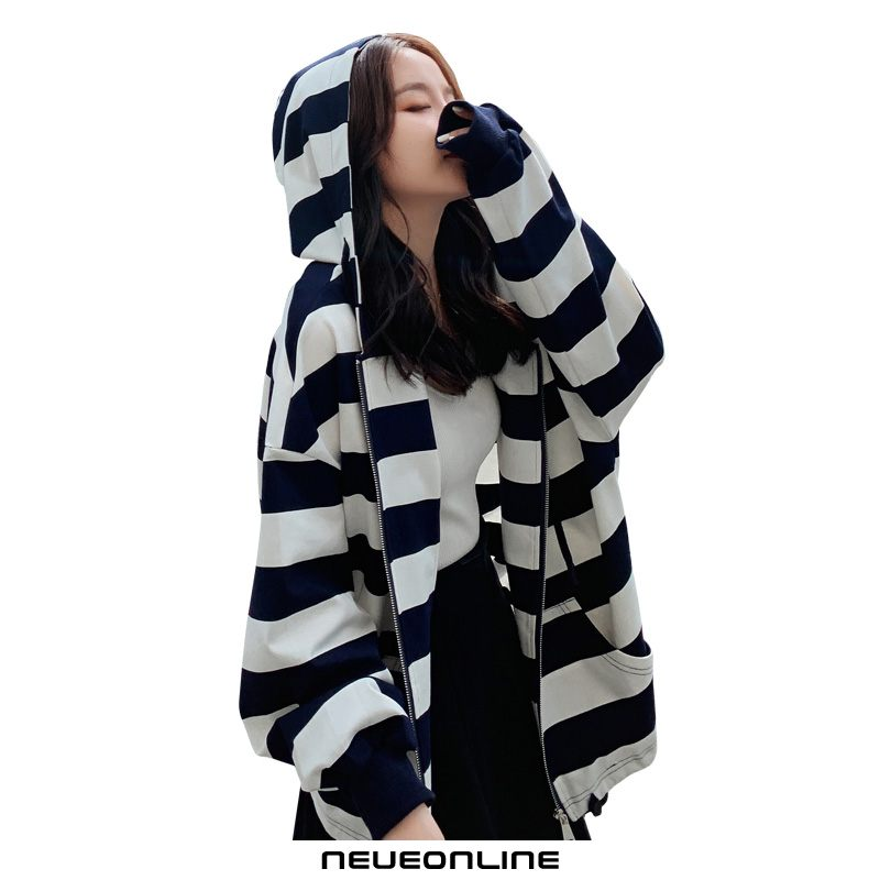 damen hoodie thin spring striped zipper hooded jacket schwarz
