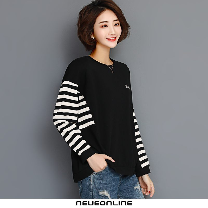 fashion neck fashion slim damen sweatshirt striped black