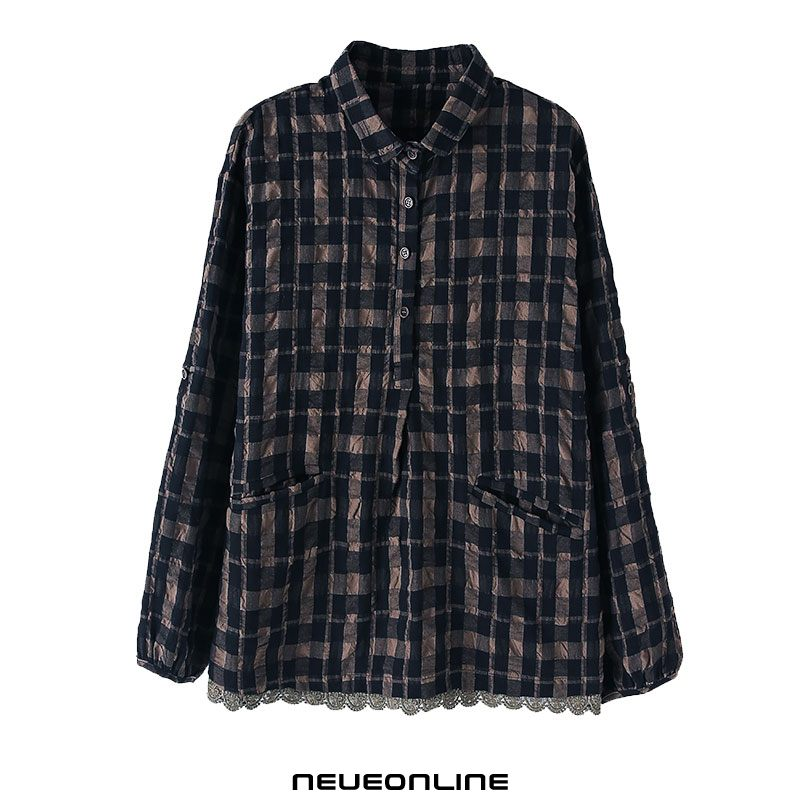 fashion plaid bluse revers komfortabel schwarz