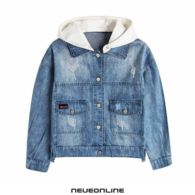 frühling und herbst bequeme langarm-cowgirl-jacke casual hooded blue