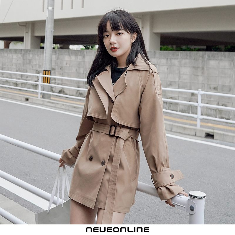 frühling und herbst damen trenchcoat chic short windproof fashion khaki
