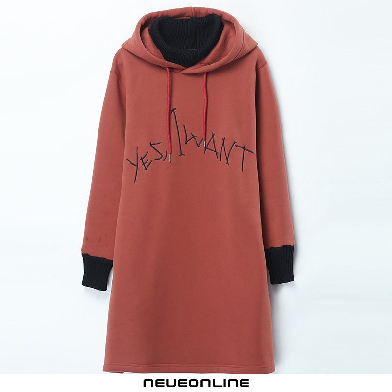 mode damen hoodie fleece long slim elegant orange