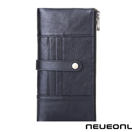 retro herren long wallet fashion casual clutch multi-card schwarz