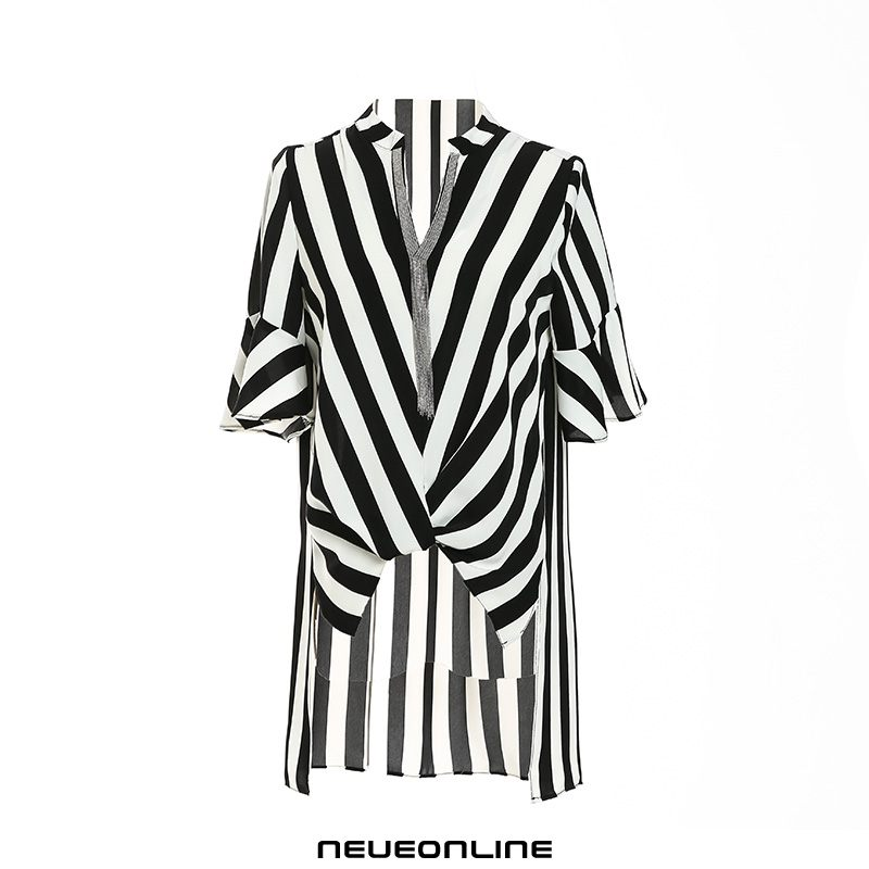 spitzenbluse fashion loose striped half sleeve summer black