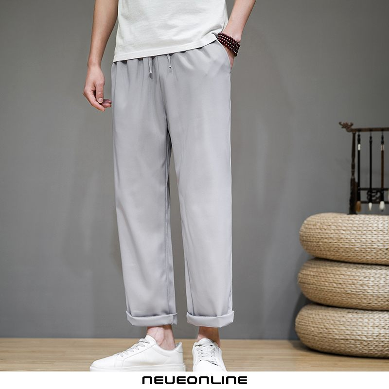 summer thin ice silk herrenhose straight pants blue