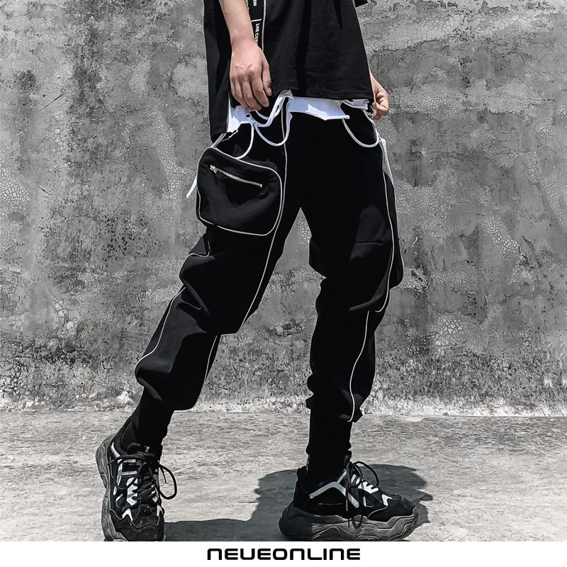 tide hip-hop lose overalls männlich big pocket rock schwarz