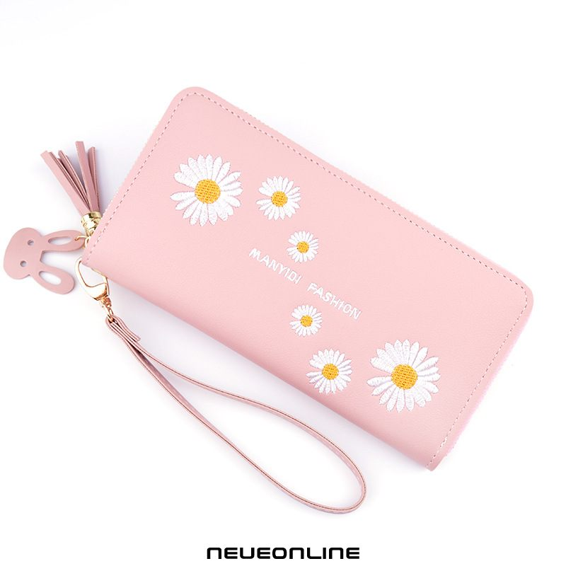 weibliche clutch bag print brieftasche long chrysanthemum zipper fashion large capacity phone bag pink