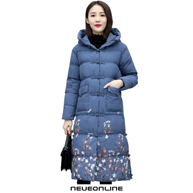 winter bequeme damen baumwolljacke long floral hooded blue