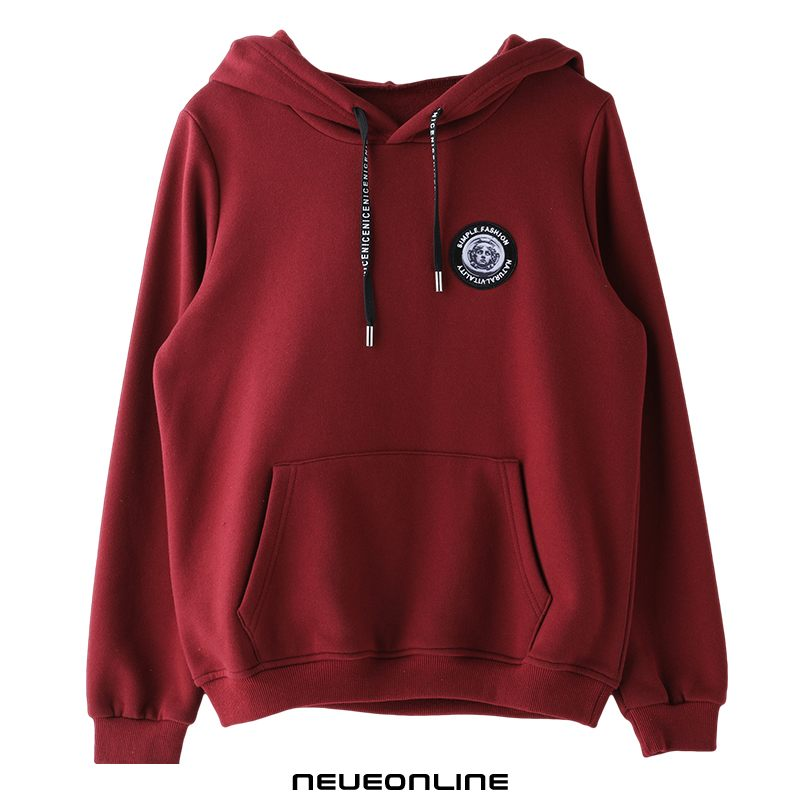 winter comfortable urban youth einfacher frauen hoodie slim wine red