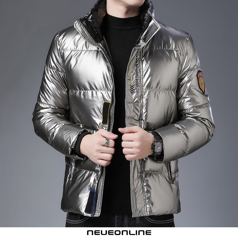 wintermode magic snake extra kurzer stehkragen shiny down jacket men champagne